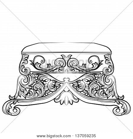 Royal Baroque Vector Classic chair furniture with Luxury Acanthus ornaments. Vector sketch furniture