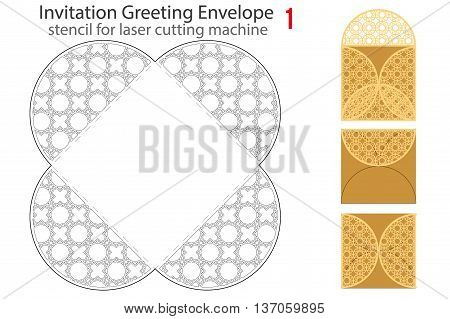 Rounded Envelope template 1 For Laser cutting. Square format. Die of wedding and invitation card. Vector Illustration isolated on white background.