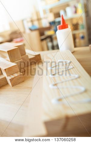 Gluing wooden board. DIY concept.
