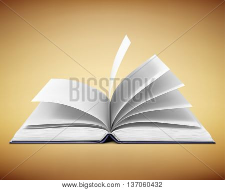 close up of open textbook with blank pages. vector illustration.