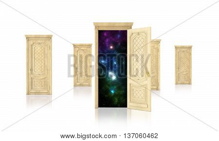 Concept of dreaming. Open door surrounded by closed doors isolated on white background. Concept of path.