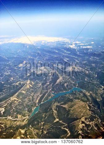 Aerial view over lake Lac de Castillon southern France