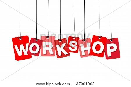 Vector colorful hanging cardboard. Tags - workshop on white background