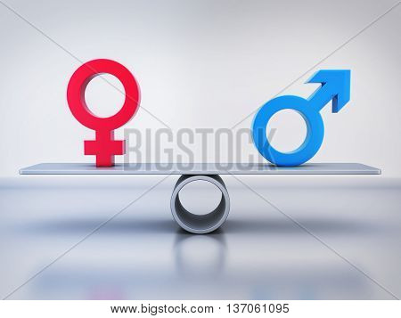 Abstract equality of men and women (done in 3d rendering)