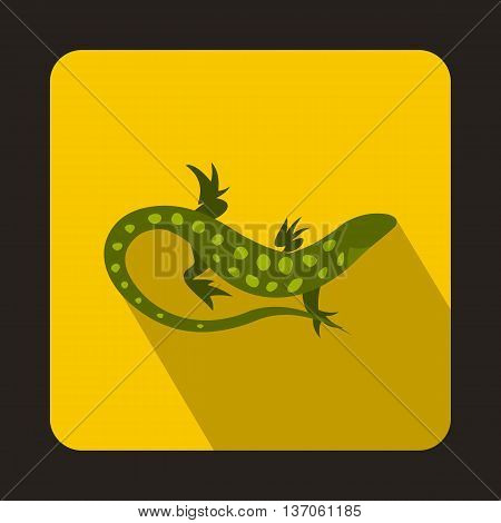 Spotted lizard icon in flat style with long shadow. Reptiles symbol