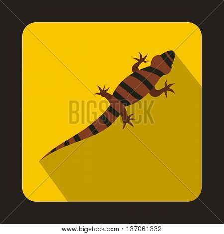 Striped chameleon icon in flat style with long shadow. Reptiles symbol