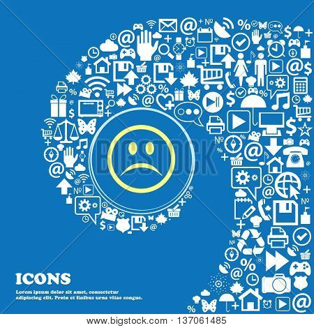 Sad Face, Sadness Depression Sign Symbol. Nice Set Of Beautiful Icons Twisted Spiral Into The Center