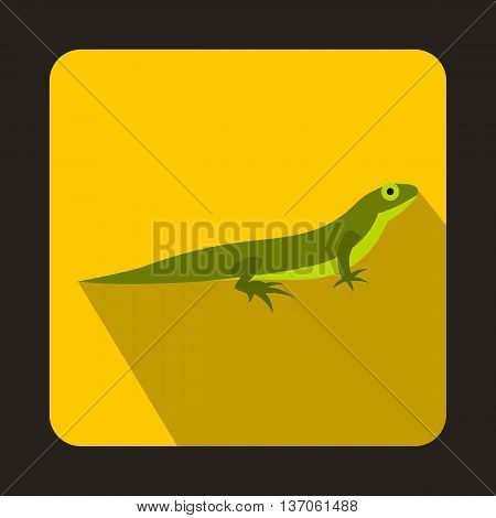 Little lizard icon in flat style with long shadow. Reptiles symbol