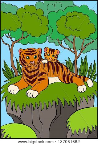 Coloring Pages. Wild Animals. Smiling Mother Tiger With Her Little Cute Baby Tiger.