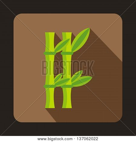 Bamboo icon in flat style with long shadow. Trees and plants symbol