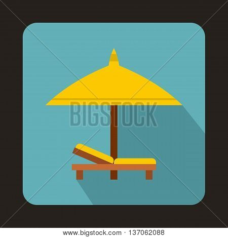 Bench and umbrella icon in flat style with long shadow. Relax on the beach symbol