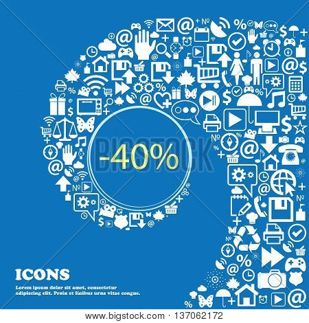 40 Percent Discount Sign Icon. Sale Symbol. Special Offer Label . Nice Set Of Beautiful Icons Twiste