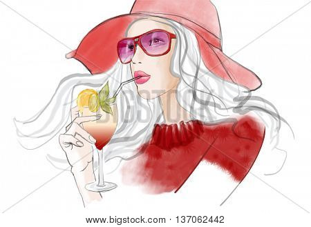 Young pretty woman with hat having a cocktail - vector illustration