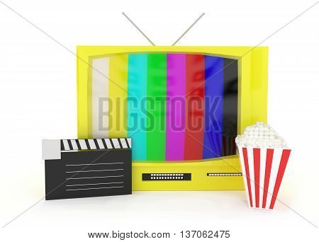 3D Television With Antenna , A Clapboard And Popcorn Near By Concept