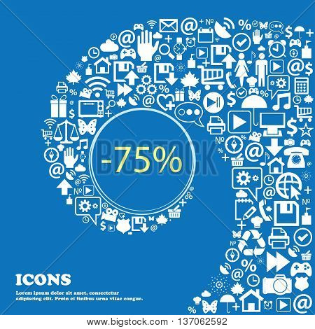 75 Percent Discount Sign Icon. Sale Symbol. Special Offer Label . Nice Set Of Beautiful Icons Twiste