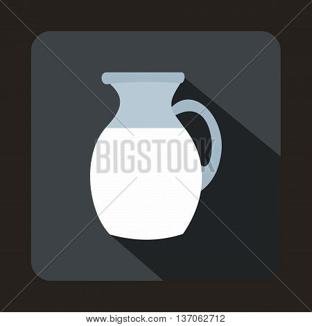 Jug of milk icon in flat style with long shadow. Dishes symbol