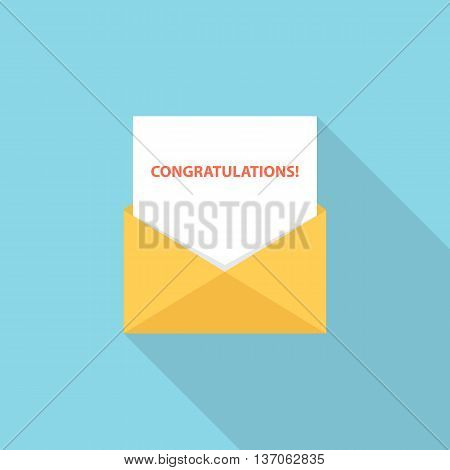 Congratulations letter, email or message. Greeting letter. Flat style vector Illustration.