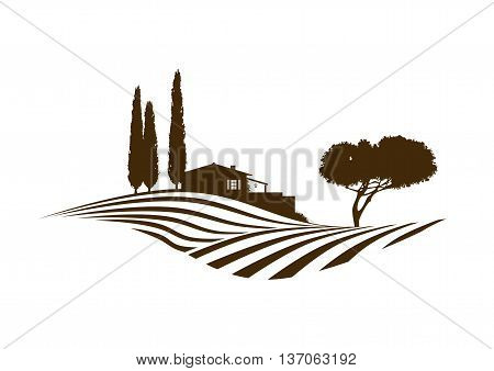 rural mediterranean vector landscape with fields house and cypresses