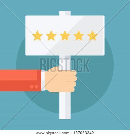 Male hand holding five star rating signboard. Flat design vector illustration.