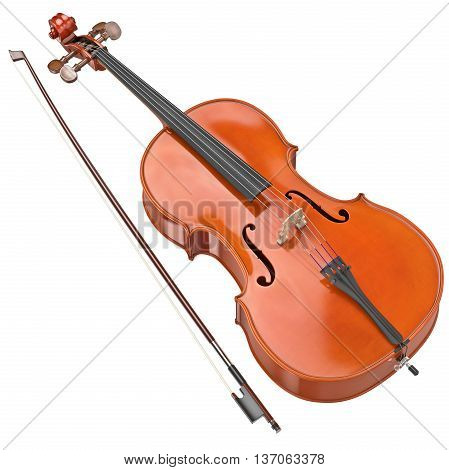 Classic cello with bow and metal strings. 3D graphic