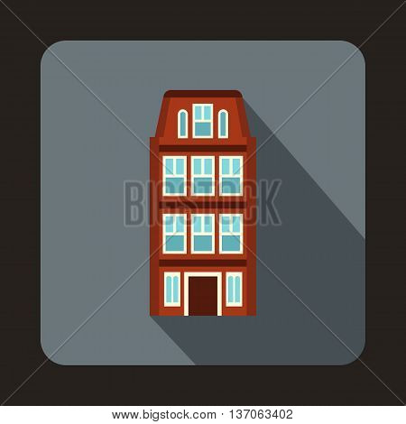Dutch houses icon in flat style with long shadow. Structure symbol