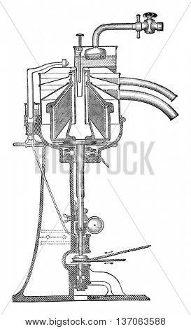 Vertical section of the Alfa Laval centrifugal ecremeuse, vintage engraved illustration. Industrial encyclopedia E.-O. Lami - 1875.