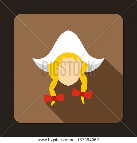 Girl dutch icon in flat style with long shadow. People symbol