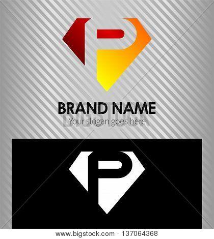 Letter P logo vector alphabet shape. ABC concept type as logo P