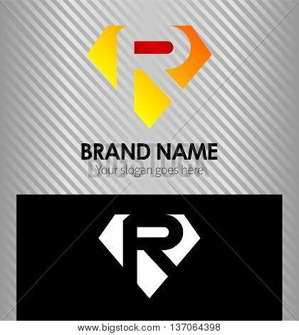 Letter R logo vector alphabet shape, concept type as logo r