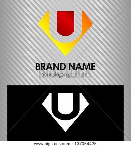 Letter U logo vector alphabet shape, concept type as logo u