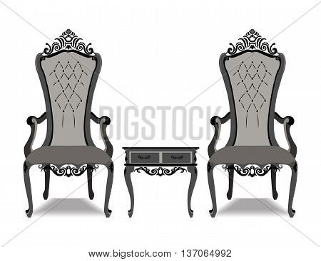 Elegant Baroque luxury ornamented furniture set. Baroque style armchairs leather quilted. Vector sketch