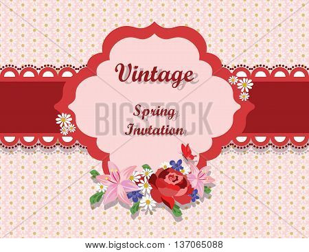 Vintage card with roses and spring flowers on a floral chamomile background. Red lace stripe. Shabby chic vintage style. Vector