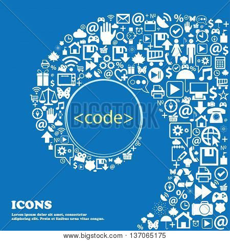 Code Sign Icon. Programming Language Symbol . Nice Set Of Beautiful Icons Twisted Spiral Into The Ce