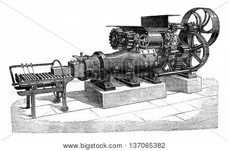 A propeller machine, vintage engraved illustration. Industrial encyclopedia E.-O. Lami - 1875.