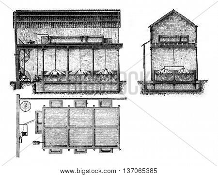 Plan, section and elevation of an electric bleach plant, vintage engraved illustration. Industrial encyclopedia E.-O. Lami - 1875.