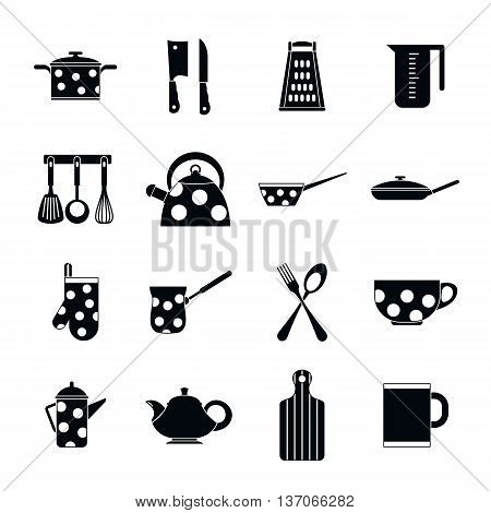 Kitchen tools and utensils icons in simple style isolated vector illustration