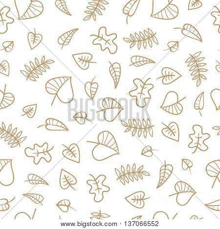 Seamless pattern with falling dry leaves on  white  background. Autumn season. Vector contour  image.