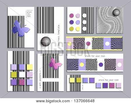 Set of cards with abstract geometric patterns. The minimalist style. Layout template, size A4, legal, tabloid, square, horizontal. 3D effect. Easy to use and edit.