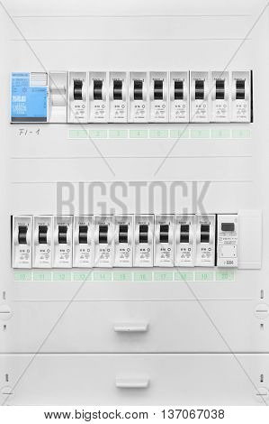 Close up of distribution board and electrical fuse