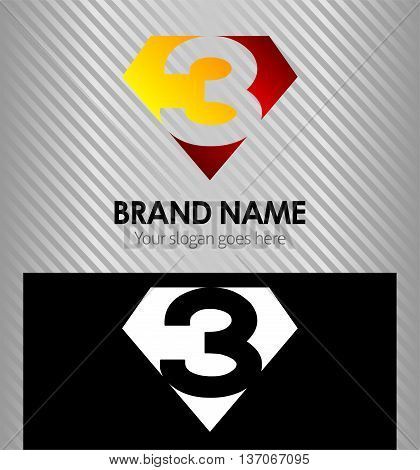 Vector sign number three, number 3 logo