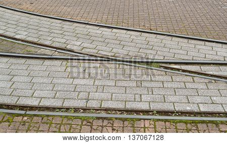 Detail of electric tramway railway in Seaton, Devon