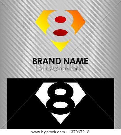 Logo number 8 company eight icon design template