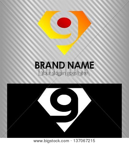 Logo number 9 company nine icon design template
