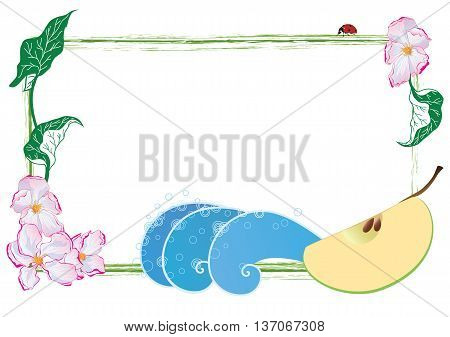 vector frame with apple flowers apple fruit and ladybird (EPS 10)