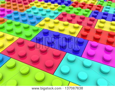 Toy bricks in various colors . 3D illustration