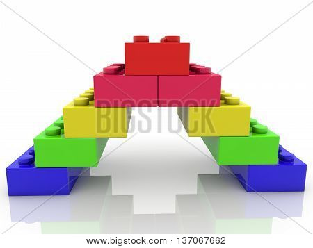 Toy bricks assembled in pyramid on white . 3D illustration .