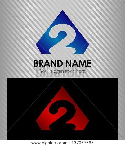 Logo number 2 company two icon design template