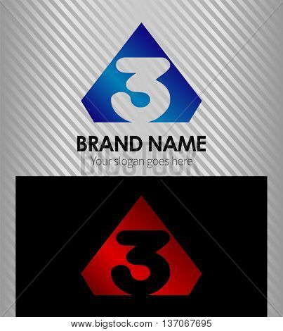 Logo number 3 company one icon design template