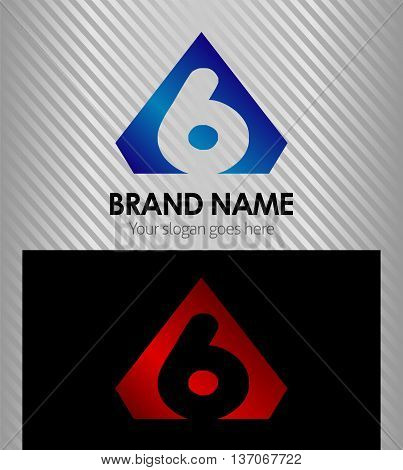 Abstract icons for number 6 logo template design vector