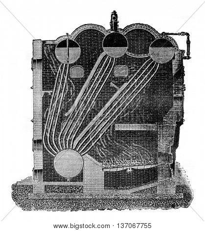 Boiler Stirling, vintage engraved illustration. Industrial encyclopedia E.-O. Lami - 1875.
